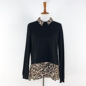 Marled Black Leopard Print Sweater Blouse